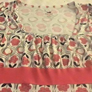 Bugle Boy Pink Print Shirt Blouse Medium Empire